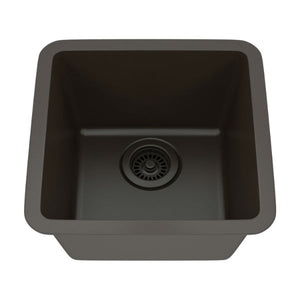 "Lexicon Platinum 15"" Mocha Quartz Single Composite Sink w/ Grid LP-1515 - Annie & Oak"