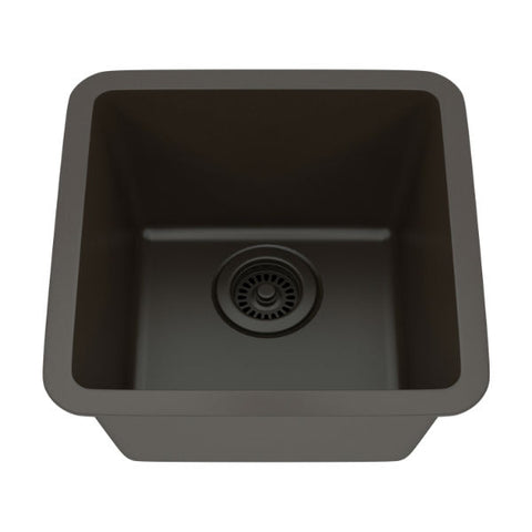 "Image of Lexicon Platinum 15"" Mocha Quartz Single Composite Sink w/ Grid LP-1515 - Annie & Oak"