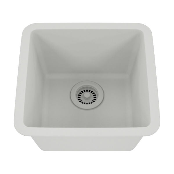 "Lexicon Platinum 15"" White Quartz Single Composite Sink w/ Grid LP-1515 - Annie & Oak"