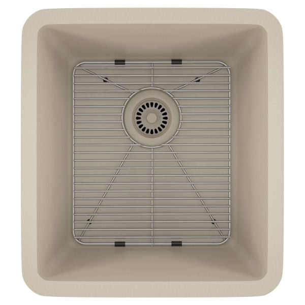 "Lexicon Platinum 16"" Beige Quartz Single Composite Sink w/ Grid LP-1618 - Annie & Oak"