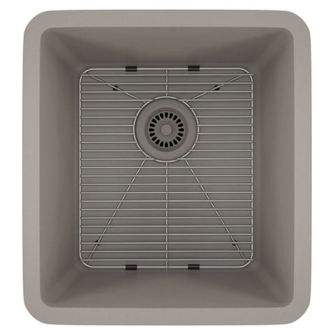 "Image of Lexicon Platinum 16"" Concrete Quartz Single Composite Sink w/ Grid LP-1618 - Annie & Oak"