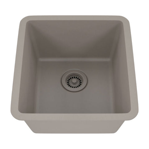 "Lexicon Platinum 16"" Concrete Quartz Single Composite Sink w/ Grid LP-1618 - Annie & Oak"