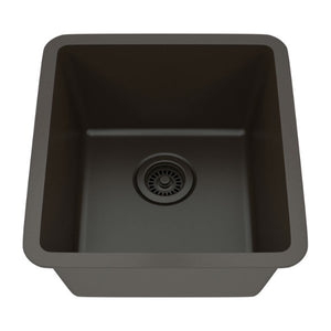 "Lexicon Platinum 16"" Mocha Quartz Single Composite Sink w/ Grid LP-1618 - Annie & Oak"