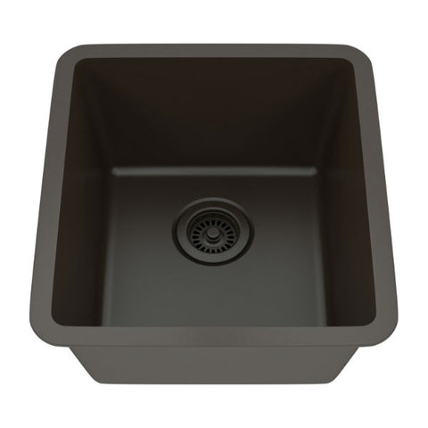 "Image of Lexicon Platinum 16"" Mocha Quartz Single Composite Sink w/ Grid LP-1618 - Annie & Oak"