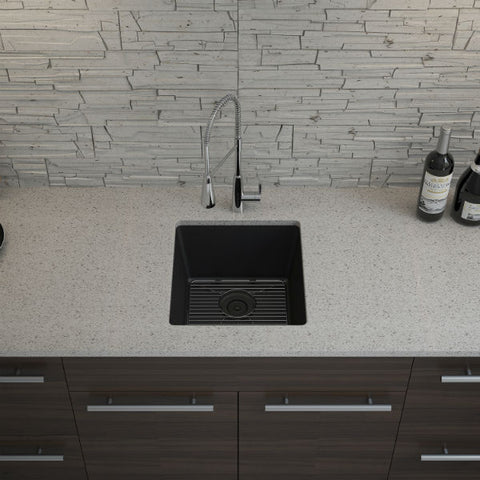 "Image of Lexicon Platinum 16"" Black Quartz Single Composite Sink w/ Grid LP-1618 - Annie & Oak"