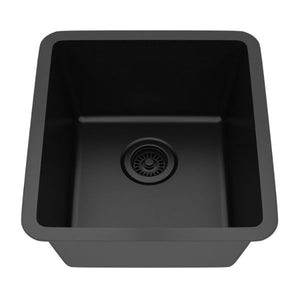 "Lexicon Platinum 16"" Black Quartz Single Composite Sink w/ Grid LP-1618 - Annie & Oak"