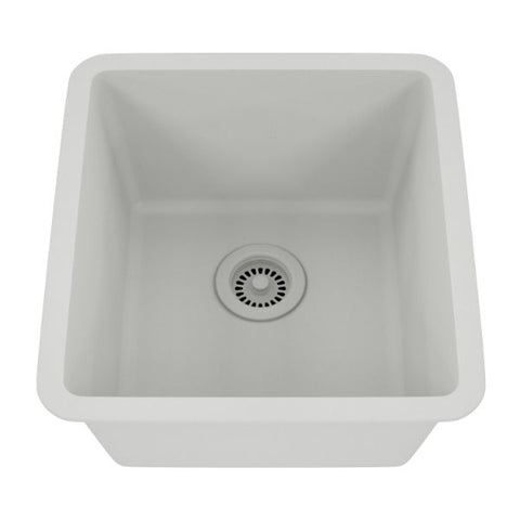 "Lexicon Platinum 16"" White Quartz Single Composite Sink w/ Grid LP-1618 - Annie & Oak"