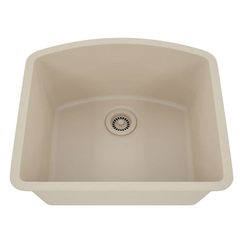 "Lexicon Platinum 23"" Beige Quartz Single Bowl Composite Sink w/ Grid LP-2321D - Annie & Oak"