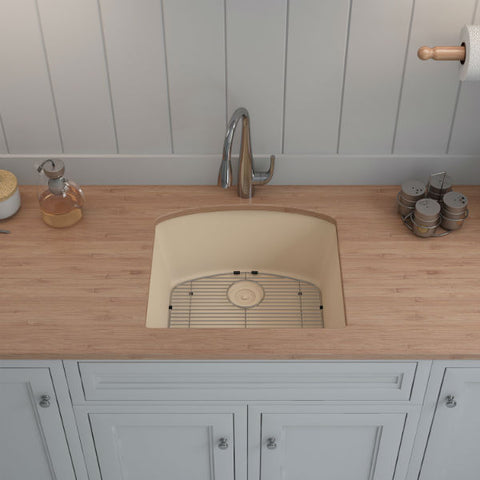 "Image of Lexicon Platinum 23"" Beige Quartz Single Bowl Composite Sink w/ Grid LP-2321D - Annie & Oak"
