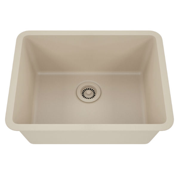 "Lexicon Platinum 23"" Beige Quartz Single Composite Sink w/ Grid LP-2318 - Annie & Oak"