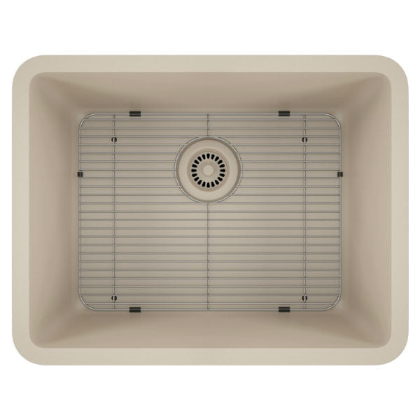 "Lexicon Platinum 23"" Beige Quartz Single Composite Sink w/ Grid LP-2318-Annie & Oak"