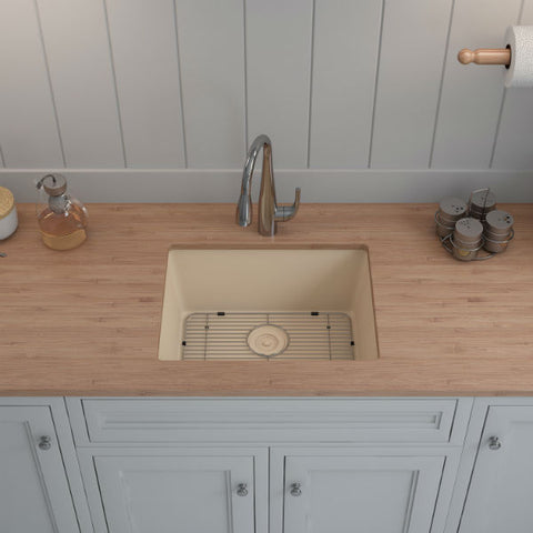 "Image of Lexicon Platinum 23"" Beige Quartz Single Composite Sink w/ Grid LP-2318-Annie & Oak"