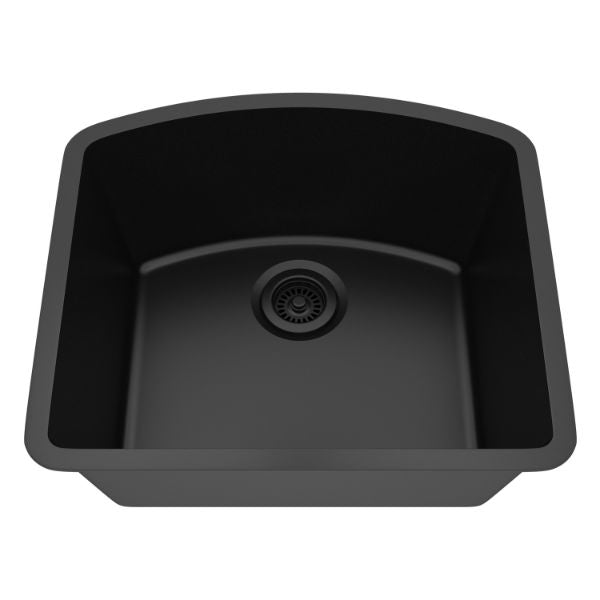 "Lexicon Platinum 23"" Black Quartz Single Bowl Composite Sink w/ Grid LP-2321D-Annie & Oak"