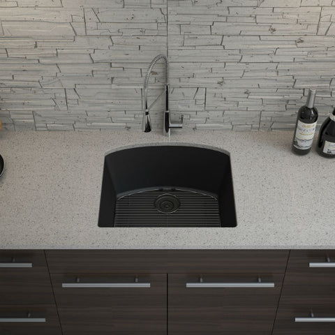 "Image of Lexicon Platinum 23"" Black Quartz Single Bowl Composite Sink w/ Grid LP-2321D-Annie & Oak"