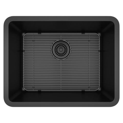 "Lexicon Platinum 23"" Black Quartz Single Composite Sink w/ Grid LP-2318 - Annie & Oak"