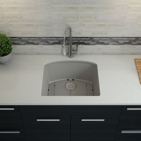 "Image of Lexicon Platinum 23"" Concrete Quartz Single Bowl Composite Sink w/ Grid LP-2321D - Annie & Oak"