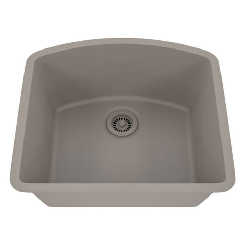 "Lexicon Platinum 23"" Concrete Quartz Single Bowl Composite Sink w/ Grid LP-2321D - Annie & Oak"