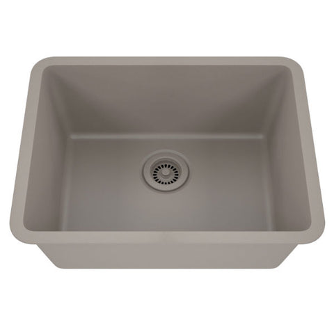 "Lexicon Platinum 23"" Concrete Quartz Single Composite Sink w/ Grid LP-2318 - Annie & Oak"