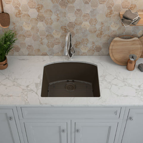 "Image of Lexicon Platinum 23"" Mocha Quartz Single Bowl Composite Sink w/ Grid LP-2321D - Annie & Oak"