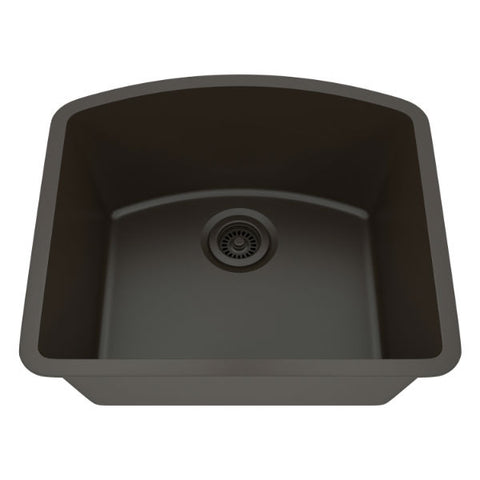 "Lexicon Platinum 23"" Mocha Quartz Single Bowl Composite Sink w/ Grid LP-2321D - Annie & Oak"