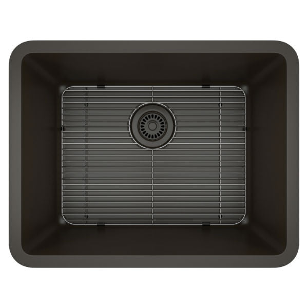 "Lexicon Platinum 23"" Mocha Quartz Single Composite Sink w/ Grid LP-2318 - Annie & Oak"