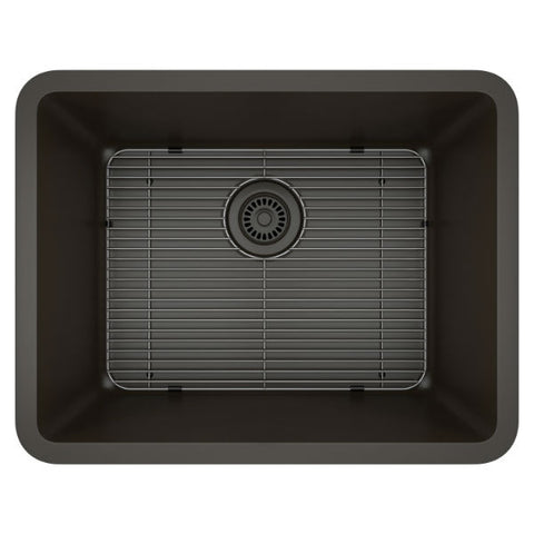 "Image of Lexicon Platinum 23"" Mocha Quartz Single Composite Sink w/ Grid LP-2318 - Annie & Oak"