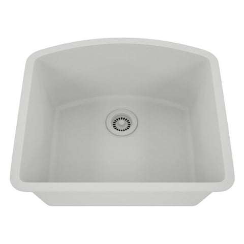 "Lexicon Platinum 23"" White Quartz Single Bowl Composite Sink w/ Grid LP-2321D - Annie & Oak"