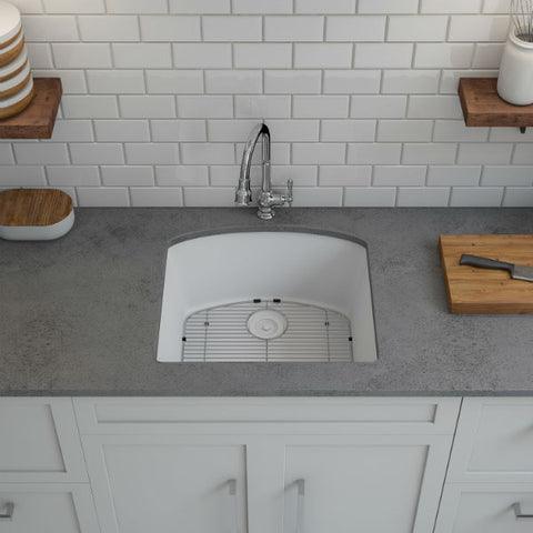 "Image of Lexicon Platinum 23"" White Quartz Single Bowl Composite Sink w/ Grid LP-2321D - Annie & Oak"