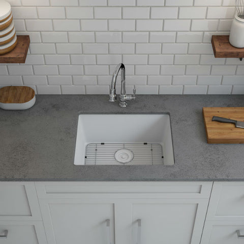 "Lexicon Platinum 23"" White Quartz Single Composite Sink w/ Grid LP-2318 - Annie & Oak"