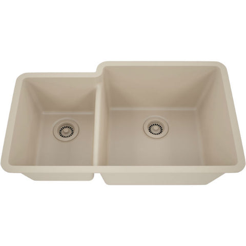 "Image of Lexicon Platinum 32"" Beige Quartz Double Bowl Composite Sink w/ Grid LP-4060 - Annie & Oak"