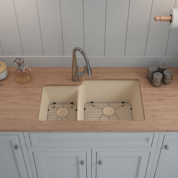 "Lexicon Platinum 32"" Beige Quartz Double Bowl Composite Sink w/ Grid LP-4060 - Annie & Oak"