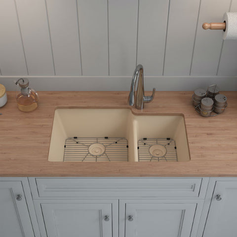 "Image of Lexicon Platinum 32"" Beige Quartz Double Bowl Composite Sink w/ Grid LP-6040 - Annie & Oak"