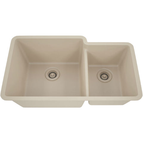 "Lexicon Platinum 32"" Beige Quartz Double Bowl Composite Sink w/ Grid LP-6040 - Annie & Oak"