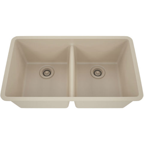 "Image of Lexicon Platinum 32"" Beige Quartz Double Bowl Composite Sink with Strainer LP-5050 - Annie & Oak"