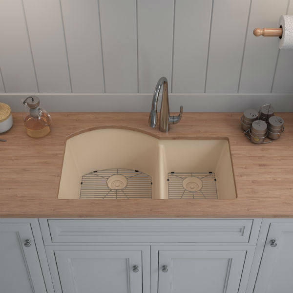 "Lexicon Platinum 32"" Beige Quartz Double Composite Sink w/ Grid LP-7030 - Annie & Oak"