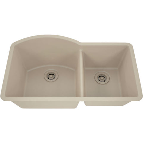 "Image of Lexicon Platinum 32"" Beige Quartz Double Composite Sink w/ Grid LP-7030 - Annie & Oak"