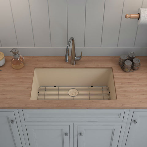 "Lexicon Platinum 32"" Beige Quartz Single Bowl Composite Sink w/ Grid LP-1000 - Annie & Oak"