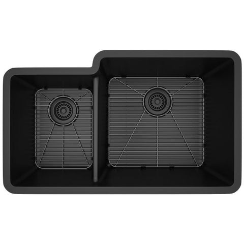 "Image of Lexicon Platinum 32"" Black Quartz Double Bowl Composite Sink w/ Grid LP-4060 - Annie & Oak"