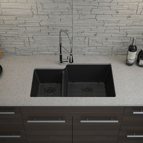 "Lexicon Platinum 32"" Black Quartz Double Bowl Composite Sink w/ Grid LP-4060 - Annie & Oak"