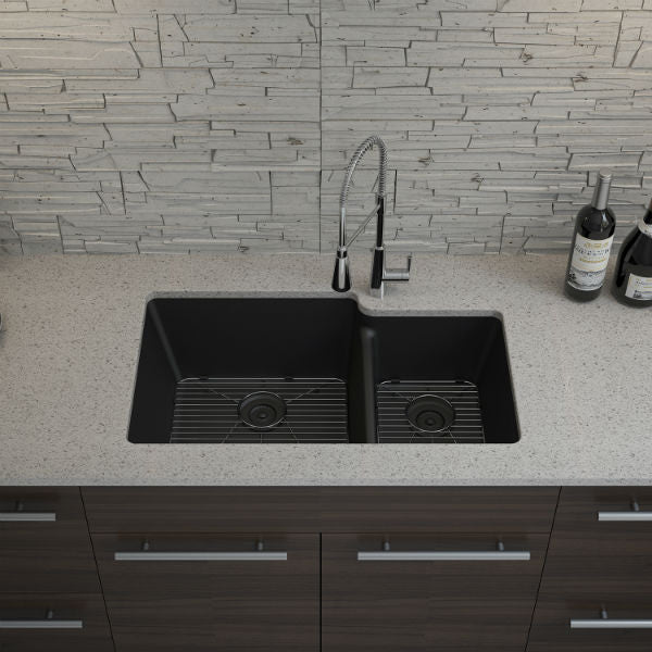 "Lexicon Platinum 32"" Black Quartz Double Bowl Composite Sink w/ Grid LP-6040 - Annie & Oak"