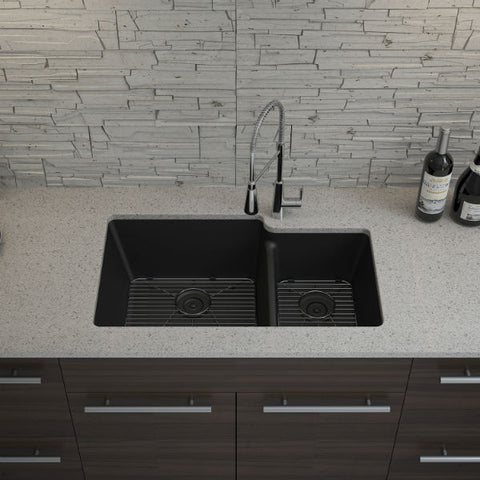 "Image of Lexicon Platinum 32"" Black Quartz Double Bowl Composite Sink w/ Grid LP-6040 - Annie & Oak"