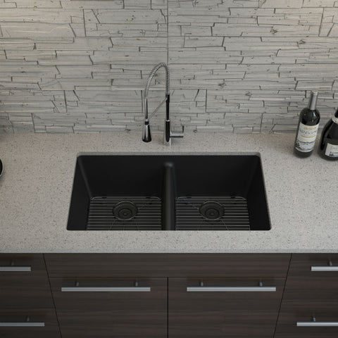 "Image of Lexicon Platinum 32"" Black Quartz Double Bowl Composite Sink with Strainer LP-5050 - Annie & Oak"