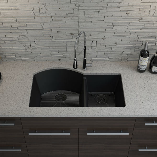 "Lexicon Platinum 32"" Black Quartz Double Composite Sink w/ Grid LP-7030 - Annie & Oak"