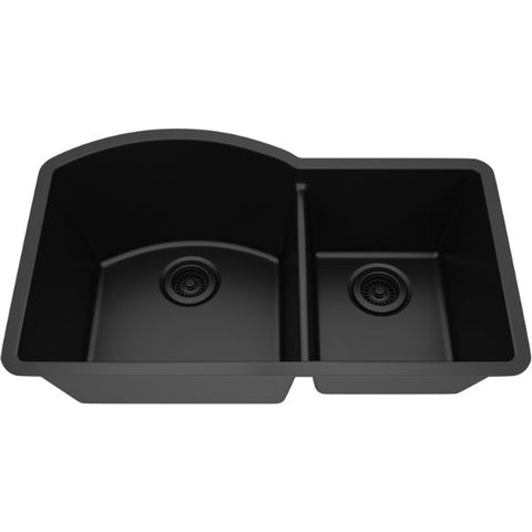"Image of Lexicon Platinum 32"" Black Quartz Double Composite Sink w/ Grid LP-7030 - Annie & Oak"