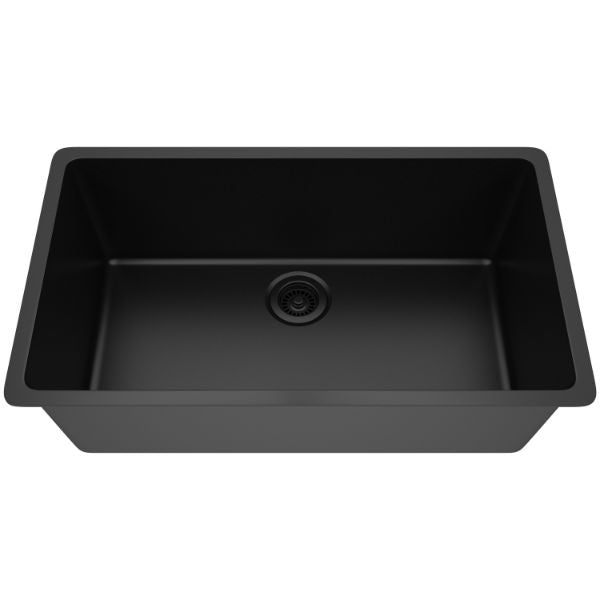 "Lexicon Platinum 32"" Black Quartz Single Bowl Composite Sink w/ Grid LP-1000 - Annie & Oak"