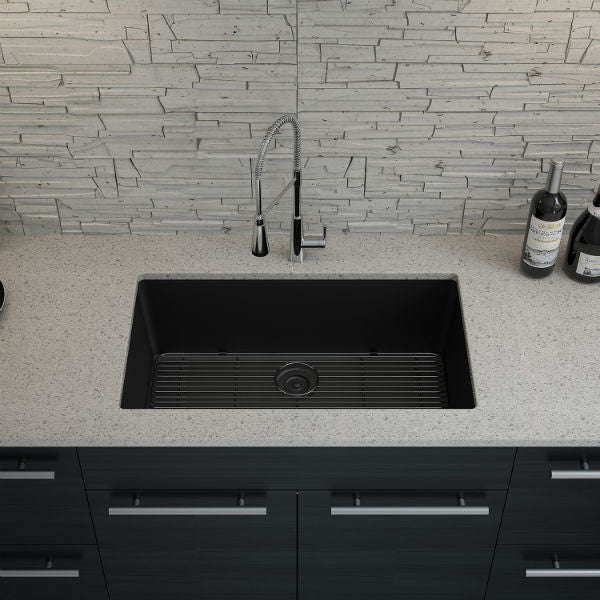 "Lexicon Platinum 32"" Black Quartz Single Bowl Composite Sink w/ Grid LP-1000-Annie & Oak"