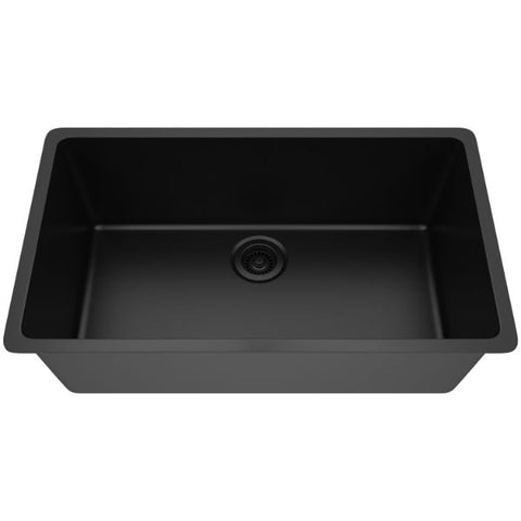 "Image of Lexicon Platinum 32"" Black Quartz Single Bowl Composite Sink w/ Grid LP-1000-Annie & Oak"