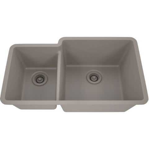 "Image of Lexicon Platinum 32"" Concrete Quartz Double Bowl Composite Sink w/ Grid LP-4060 - Annie & Oak"