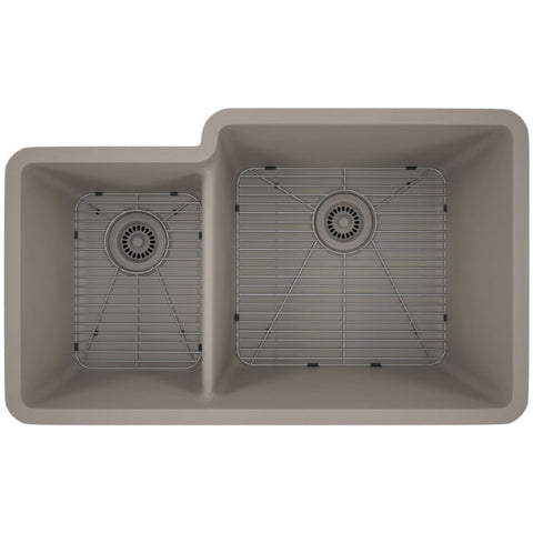 "Lexicon Platinum 32"" Concrete Quartz Double Bowl Composite Sink w/ Grid LP-4060 - Annie & Oak"