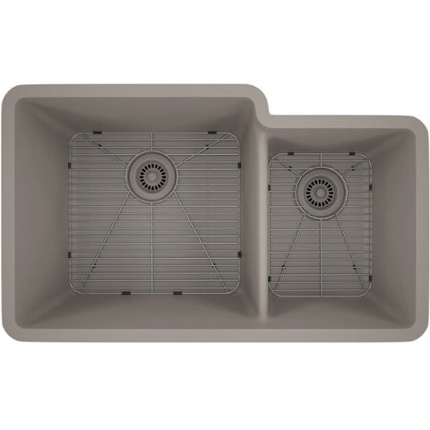 "Image of Lexicon Platinum 32"" Concrete Quartz Double Bowl Composite Sink w/ Grid LP-6040 - Annie & Oak"